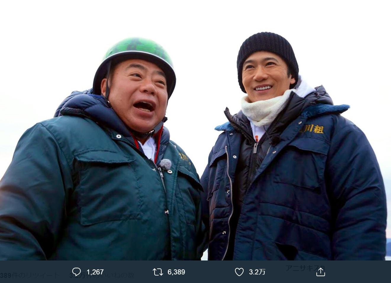 出川哲朗と稲垣吾郎(画像は『出川哲朗の充電させてもらえませんか? 2020年1月2日付Twitter「#出川哲朗の充電させてくれませんか 新春3時間スペシャルのご視聴ありがとうございましたっ」』のスクリーンショット)