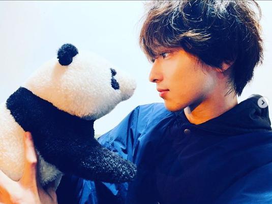 """パンダのぬいぐるみを見つめる横浜流星(画像は『横浜流星 2019年12月17日付Instagram「ドラマ『シロでもクロでもない世界で、パンダは笑う。』主題歌がビリーアイリッシュさんの""""bad guy""""に決まりました!!」』のスクリーンショット)"""
