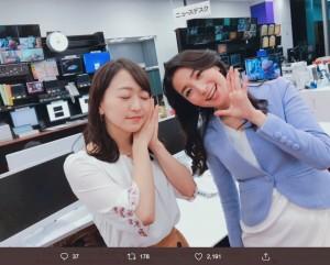 須黒清華と大江麻理子(画像は『相内優香(テレビ東京アナウンサー) 2020年1月8日付Twitter「大江さんと培ってきたWBSのチーム力で責任を持って務めさせていただきます!」』のスクリーンショット)