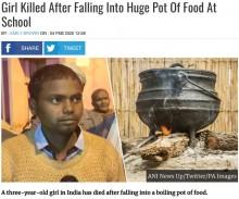 【海外発!Breaking News】学校給食の煮えたぎった巨大鍋に落ちた3歳児が死亡(印)
