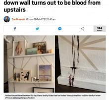 部屋の壁を伝う黒いタール状の液体、上階で死亡した人の血液だった(米)
