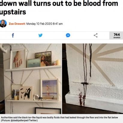 【海外発!Breaking News】部屋の壁を伝う黒いタール状の液体、上階で死亡した人の血液だった(米)