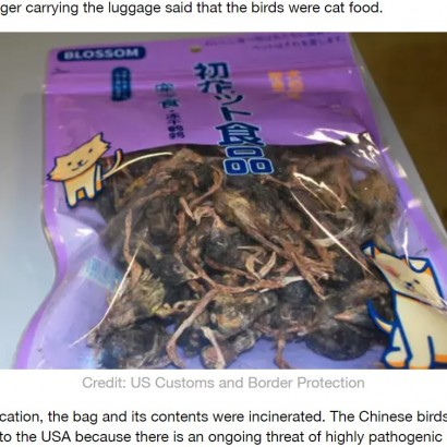 【海外発!Breaking News】中国からの乾燥鳥、米空港で没収 パッケージには日本語で「ペットはそれを愛します」