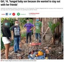【海外発!Breaking News】「友達と過ごす時間が欲しい」14歳の母親が1歳の息子を絞殺する(タイ)