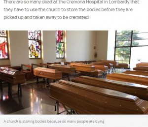 棺が置かれている教会(画像は『Sky News 2020年3月21日付「Coronavirus: 'Everyone dies alone': Heartbreak at Italian hospital on brink of collapse」』のスクリーンショット)