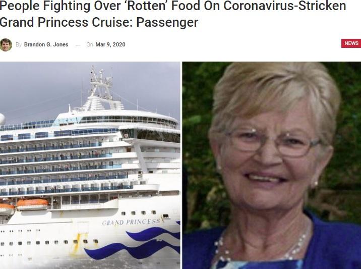 グランド・プリンセス号の船内の様子を語った女性(画像は『ABC 14 News 2020年3月9日付「People Fighting Over 'Rotten' Food On Coronavirus-Stricken Grand Princess Cruise: Passenger」』のスクリーンショット)