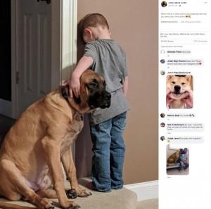 【海外発!Breaking News】叱られた3歳児にピタリと寄り添う犬「1人にはさせないよ」(米)