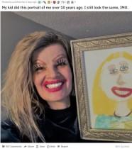 【海外発!Breaking News】「10年前と同じでしょ」娘が幼少期に描いた似顔絵通りにメイクした母親が人気(米)
