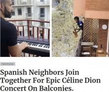【海外発!Breaking News】外出禁止のスペインで「つらい時だからこそ音楽を」バルコニーで即興デュオ<動画あり>