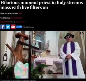 【海外発!Breaking News】礼拝のライブ配信でフェイスフィルター機能作動 司祭の変化が笑いを呼ぶ(伊)<動画あり>