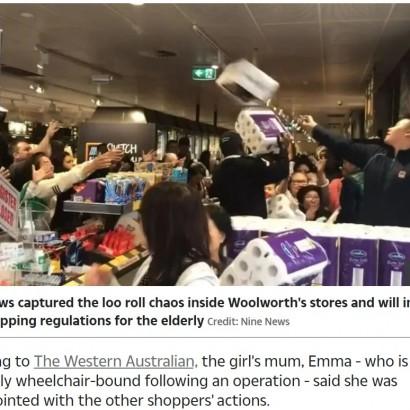 【海外発!Breaking News】パニック買いの悲劇 トイレットペーパーに群がる客達に少女が踏み潰されて怪我(豪)
