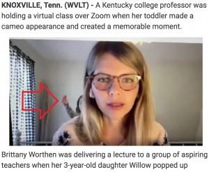 【海外発!Breaking News】「鼻くそ取れた!」3歳娘の一言でオンライン講義を中断された大学教授の母親(米)<動画あり>