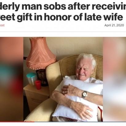 【海外発!Breaking News】高齢者介護施設で暮らす94歳男性、亡き妻の顔写真入りクッションを贈られ号泣(英)<動画あり>