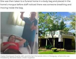 【海外発!Breaking News】死んだはずの妻が生き返った! 葬儀場で遺体袋が動き出す「病院があえて治療をしなかった」夫が激昂(パラグアイ)