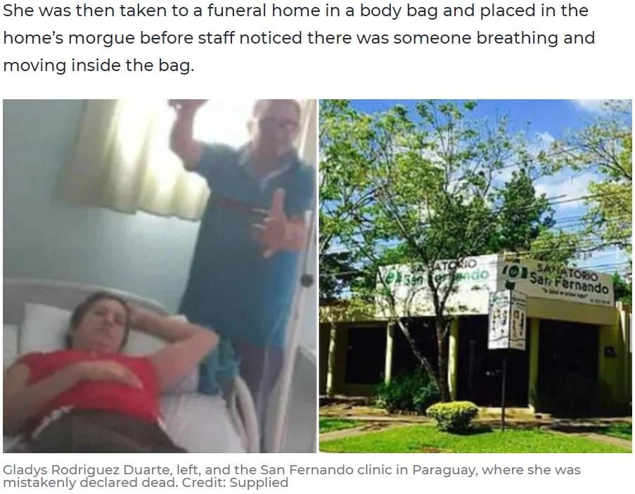 誤診された46歳女性(左)と「死亡」を告げた病院(画像は『7NEWS.com.au 2020年4月17日付「Woman wakes up in body bag at funeral home after accidentally being declared dead」(Credit: Supplied)』のスクリーンショット)