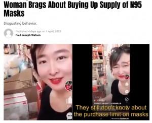 【海外発!Breaking News】「アメリカ人には一つも残してやらない」マスクを買い占めする中国人女性(米)<動画あり>