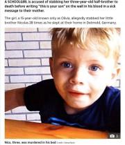 【海外発!Breaking News】「あんたの息子はここだよ」弟を殺害した15歳少女、母親宛に血のメッセージ残す(独)