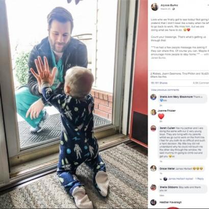 """【海外発!Breaking News】最前線で働く男性医師が1歳息子と""""ガラス越しの再会"""" 投稿した妻の切実な思い(米)"""