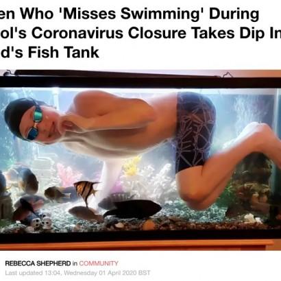 【海外発!Breaking News】父親が飼っている熱帯魚の水槽で泳ぐ少年(カナダ)<動画あり>