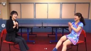 川口春奈と伊藤美誠選手(画像は『Going! Sports&News 2020年4月3日付Instagram「放送告知 あす4月4日(土)のGoing!は…Going!10周年」』のスクリーンショット)