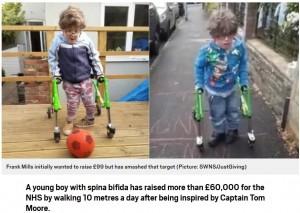 【海外発!Breaking News】歩行困難の6歳少年、歩行器で10m歩いて医療従事者への寄付金集める(英)