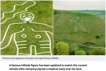 【海外発!Breaking News】地上絵「サーン・アバスの巨人」の顔に何者かがマスクを描き足す(英)