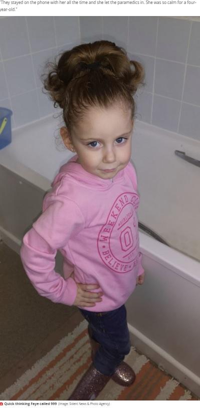 母親の命を救ったフェイちゃん(画像は『Mirror 2020年5月11日付「Girl, 4, saves mum's life by telling 999 operator 'mummy can't breathe'」(Image: Solent News & Photo Agency)』のスクリーンショット)