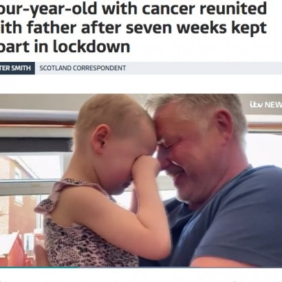 【海外発!Breaking News】白血病の4歳女児、大好きな父親と2か月ぶりのハグに涙(スコットランド)<動画あり>