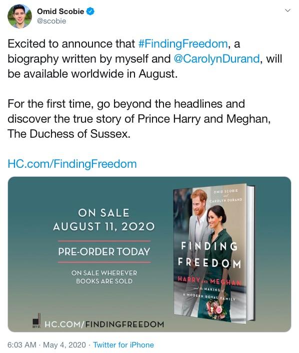 8月出版予定の伝記本『FINDING FREEDOM』(画像は『Omid Scobie 2020年5月4日付Twitter「Excited to announce that #FindingFreedom, a biography written by myself and @CarolynDurand, will be available worldwide in August.」』のスクリーンショット)