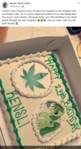 「モアナ」と「マリファナ」を聞き間違えた結果…(画像は『Kensli Taylor Davis 2019年7月2日付Facebook「I haven't had a chance to tell y'all about our experience this weekend with my birthday cake.」』のスクリーンショット)