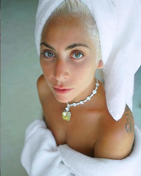 ガガが着けていたティファニーの超高級ネックレス(画像は『Lady Gaga 2019年2月27日付Instagram「For the Oscars, @tiffanyandco offered to go into their vault and let me wear their iconic, 141-year-old Tiffany diamond.」』のスクリーンショット)