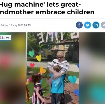 """【海外発!Breaking News】孫娘が作った""""ハグ・マシーン""""で85歳おばあちゃん、2か月ぶりに孫達を抱きしめる(米)<動画あり>"""