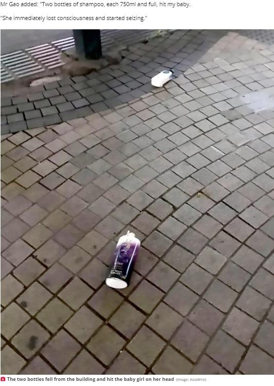 高層階から落下したシャンプーボトル(画像は『Daily Star 2020年5月15日付「Baby left with deformed head after shampoo bottles fall from high-rise and hit her」(Image: AsiaWire)』のスクリーンショット)