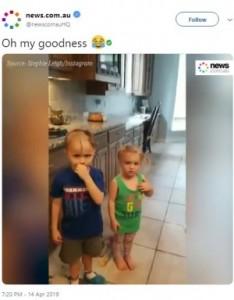 子供たちの髪型に異変が!(画像は『news.com.au 2019年4月14日付Twitter「Oh my goodness」(Source:Stephie Leigh/Instagram)』のスクリーンショット)