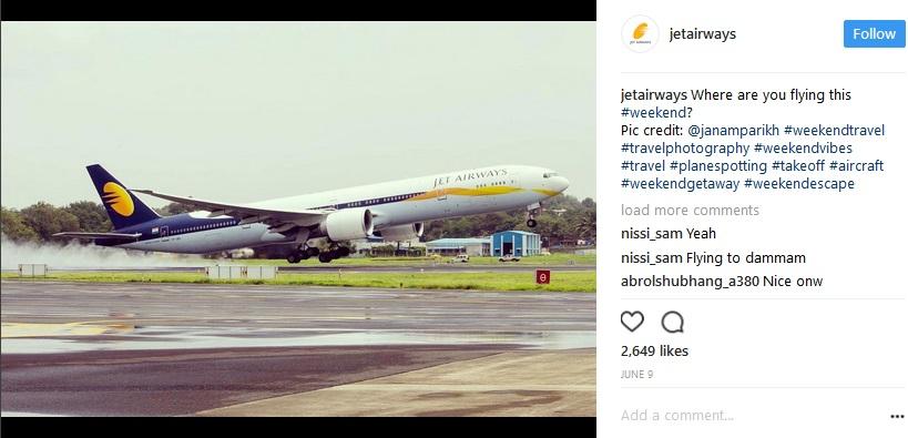 インドの航空会社「ジェットエアウェイズ」が粋な計らい(画像は『Jet Airways 2017年6月10日付Instagram』のスクリーンショット)