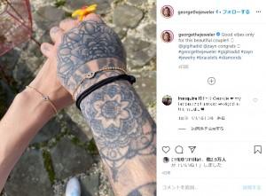 ジョージ・カリフェさんが投稿したジジ&ゼインの手首の写真(画像は『George Khalife 2020年5月2日付Instagram「Good vibes only for this beautiful couple!!」』のスクリーンショット)