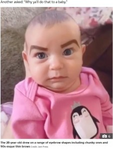 キリっとしたまゆ毛のレイトン・メイちゃん(画像は『The Irish Sun 2020年5月21日付「EYE SAY 'Harsh' mum slammed for drawing huge eyebrows on her baby daughter then sharing her 'mini makeover' on TikTok」(Credit: Jam Press)』のスクリーンショット)