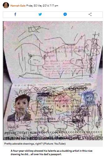 4歳児がいたずら書きをした父親のパスポート(画像は『Metro.co.uk 2014年5月30日付「Child draws all over dad's passport, dad gets stuck in South Korea」(Picture: YouTube)』のスクリーンショット)