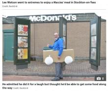 【海外発!Breaking News】マックのドライブスルーに段ボールカーで並んだ男性 注文できずも「笑いは取れた!」(英)<動画あり>
