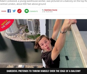 【海外発!Breaking News】思わず息を呑む! 高層ビルでスタントする恐れ知らずの19歳YouTuber(英)<動画あり>