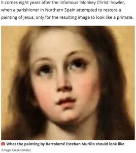 オリジナルの絵画(画像は『Mirror 2020年6月23日付「Horror as 'bodgers' ruin historic painting of Virgin Mary during 'restoration'」(Image: Coleccionista)』のスクリーンショット)