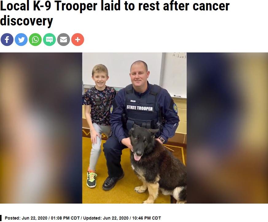 """ハンドラーの家族と並ぶ、元気だった頃の警察犬""""キューバ""""(画像は『OzarksFirst.com 2020年6月22日付「Local K-9 Trooper laid to rest after cancer discovery」』のスクリーンショット)"""