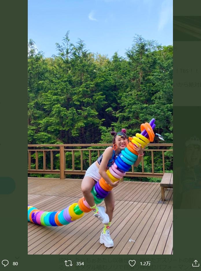 『アイ・アム・冒険少年』でのフワちゃん(画像は『フワちゃん FUWA 2020年6月15日付Twitter「このあと19:00からは、アイアム冒険少年!!!!」』のスクリーンショット)