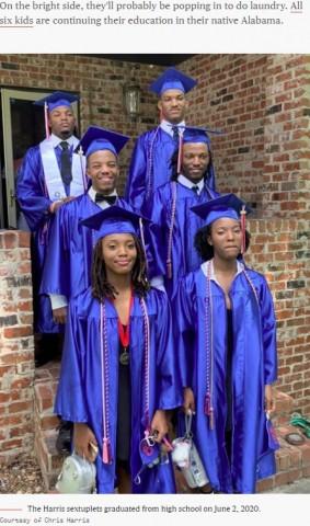 【海外発!Breaking News】大人の手のひらに収まるほど小さかった6つ子、全員揃って高校を卒業(米)