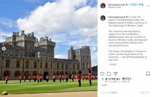 ウィンザー城にて行われた特別式典での軍楽隊((画像は『Duke and Duchess of Cambridge 2020年6月13日付Instagram「To mark The Queen's Official Birthday today, Her Majesty viewed a military ceremony in the Quadrangle of Windsor Castle.」』のスクリーンショット)