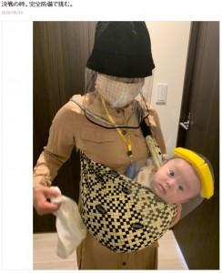完全防備で予防接種へ向かうキンタロー。と娘(画像は『キンタロー。旦那 2020年5月30日付オフィシャルブログ「決戦の時。完全防備で挑む。」』のスクリーンショット)