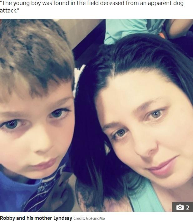 亡くなったロビー君と母親のリンジーさん(画像は『The Sun US 2020年5月30日付「MAULED TO DEATH Boy, 9, attacked and killed by two 'loose pit bulls' after going outside to check his mailbox」(Credit: GoFundMe)』のスクリーンショット)