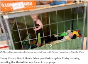 犬用のケージの中にいた1歳児(画像は『Queensland Times 2020年6月28日付「Toddler found in cage with abused animals」(Picture: Henry County Sheriff's Office)』のスクリーンショット)