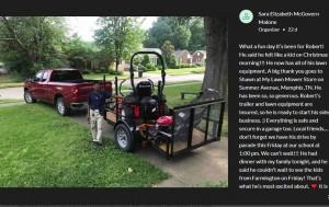 ロバートさんが手に入れたトラックと芝刈り機(画像は『GoFundMe 2020年2月18日付「Transportation for Mr. Reed」』のスクリーンショット)
