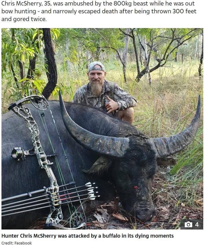 ハンターの男性が仕留めた水牛(画像は『The Sun 2020年6月26日付「GORE BLIMEY Massive dying buffalo wreaks final revenge on hunter with brutal attack that left him with horror wounds to leg」(Credit: Facebook)』のスクリーンショット)